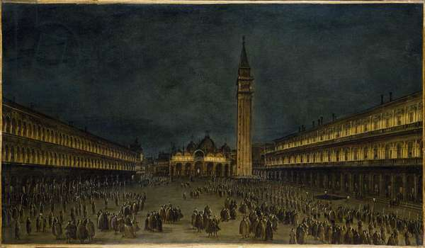 A Night Procession in the Piazza San Marco, Venice, Italy , c.1755 (oil on canvas)
