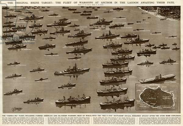 Fleet of warships, Bikini target, by G. H. Davis