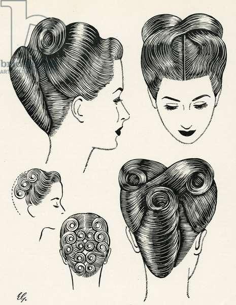 Grecian Contour Hairstyle Diagrams