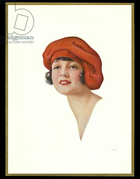Chocolate box design, lady in red hat
