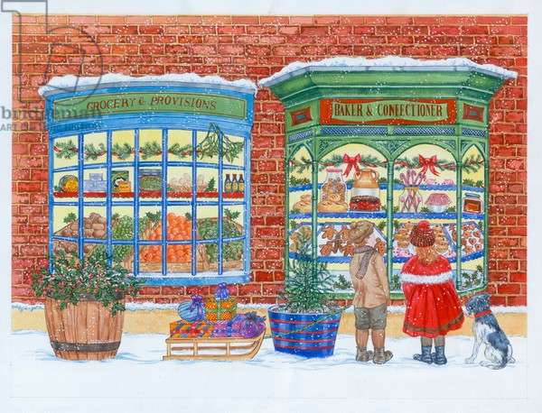 Victorian Shop Fronts at Christmas, with two children and do