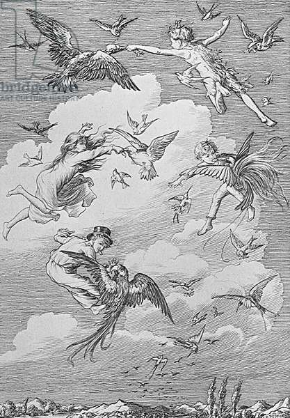 Peter Pan and the Darling children flying with the birds