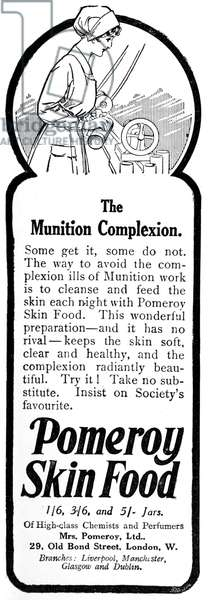 Pomeroy skin food advertisement, skincare for munition worke