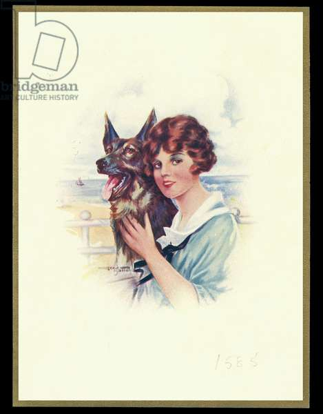 Chocolate box design, lady with dog
