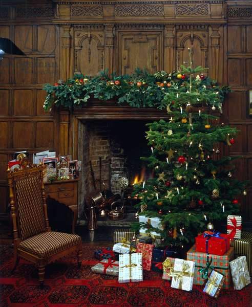 Christmas Fireplace Ð with presents and tree