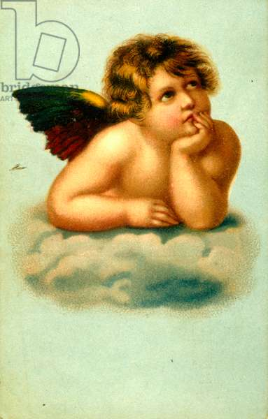 Sistine Madonna putto by Raphael