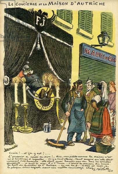 Cartoon, The concierge of the House of Austria, WW1