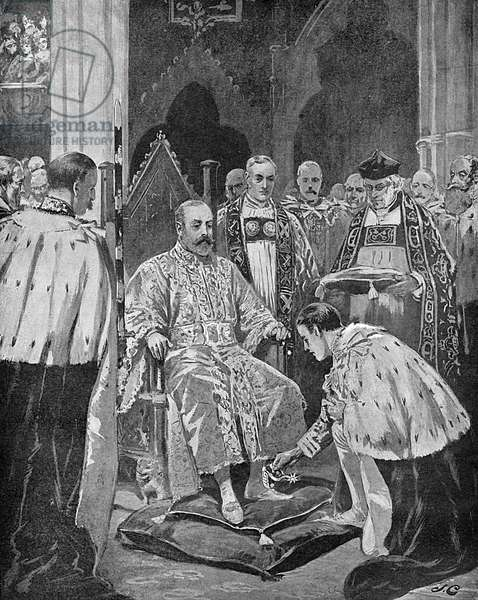 Lord Great Chamberlain presenting spurs to the King