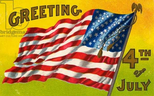 American 4th of July postcard