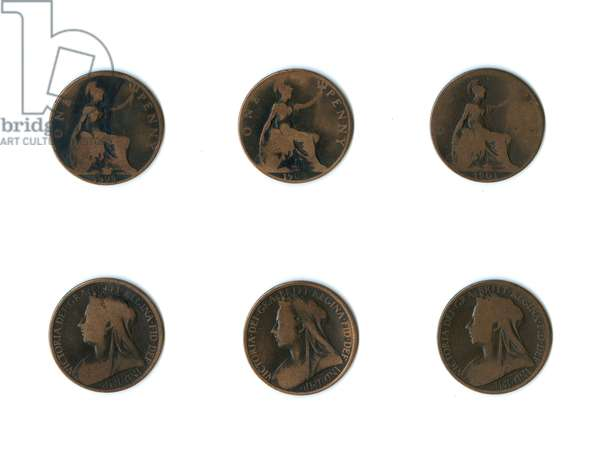 British coins, three Queen Victoria pennies