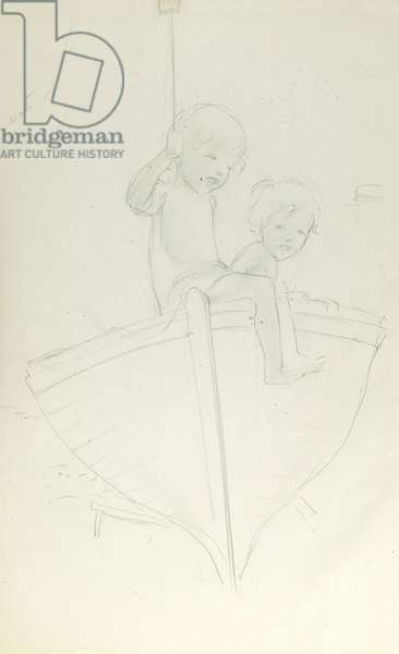 Pencil sketch of two children on a boat