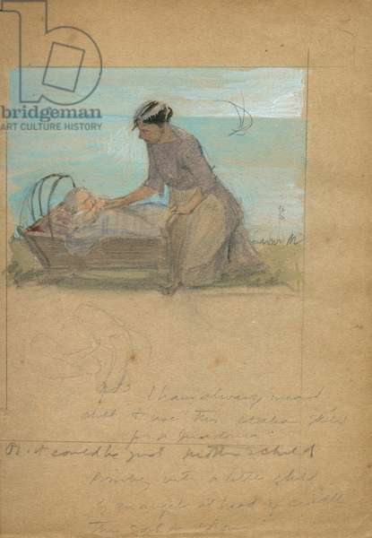 Woman with baby in cradle by Muriel Dawson