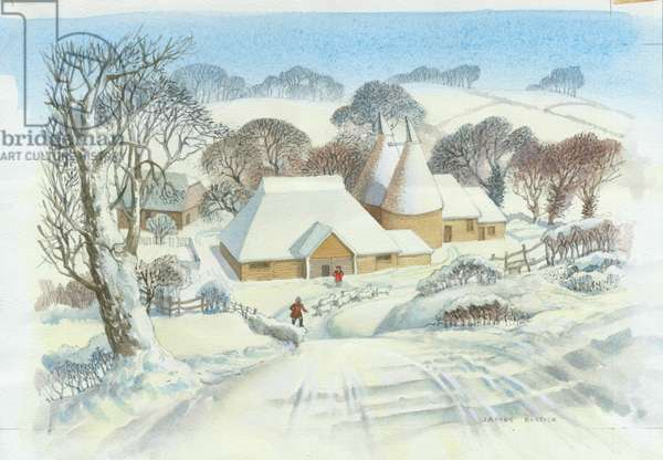 Kentish Winter Scene - Oast House