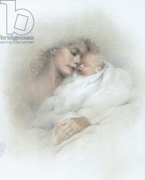 Mother and Baby wrapped in white