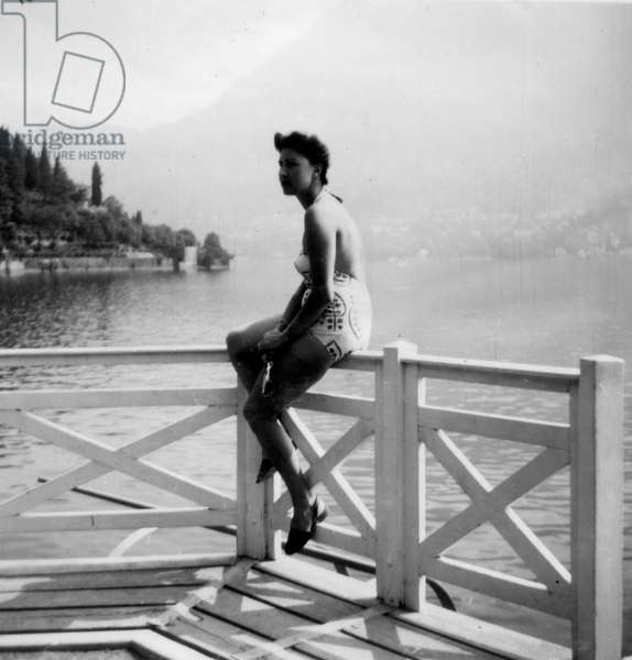 Carly on a balcony, Lake Como, Italy