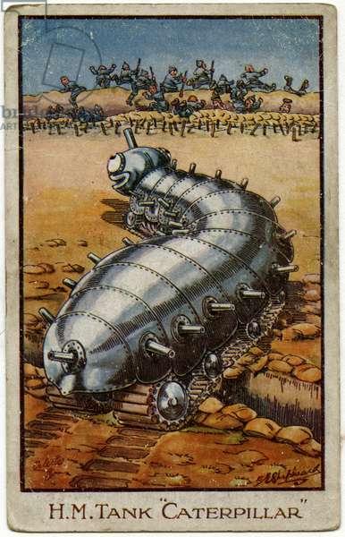 Caterpillar Tank cartoon scatters fleeing Germans