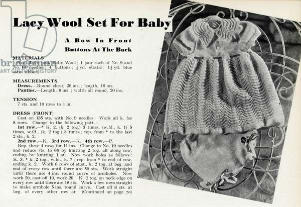 Knitting pattern for a baby 1941