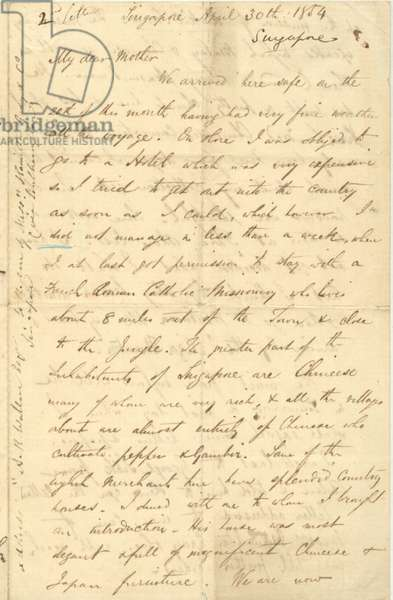Letter from A.R. Wallace to his mother, 30 April 1854
