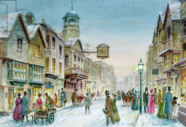 Victorian Street Scene in the Snow