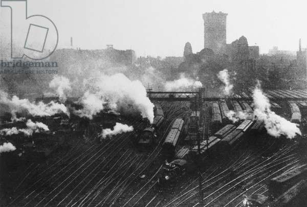 Aerial view of trains near Grand Central Station, New York