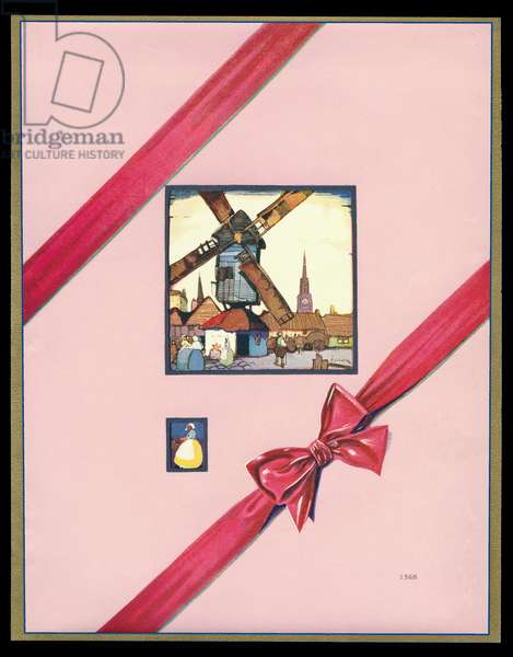 Chocolate box design, street scene with windmill