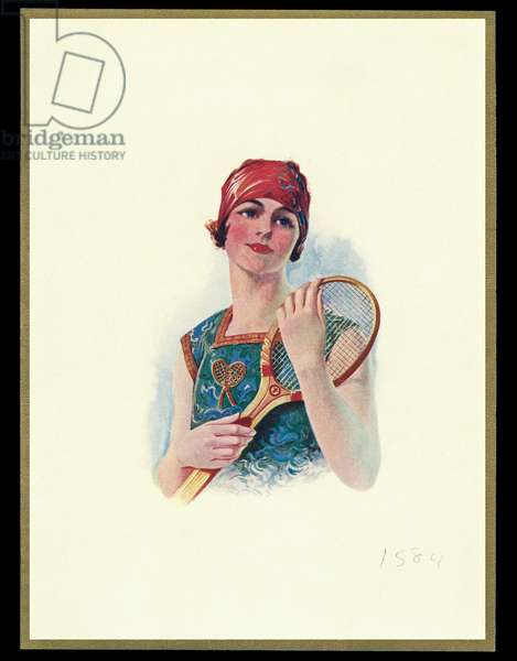 Chocolate box design, lady with tennis racquet