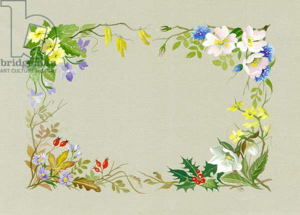 Border design with flowers of four seasons