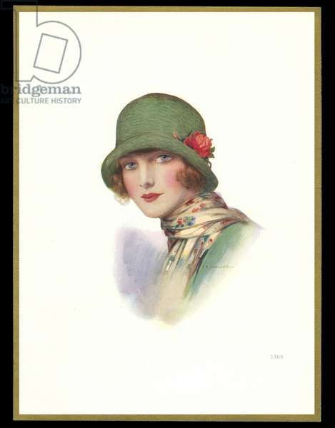 Chocolate box design, lady in green cloche hat
