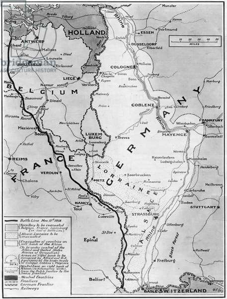 Map of Germany, Belgium, France illustrating Armistice