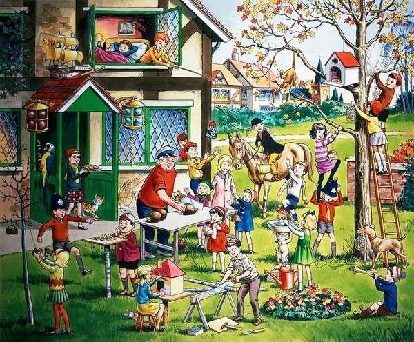 Garden scene with children (with hidden objects)