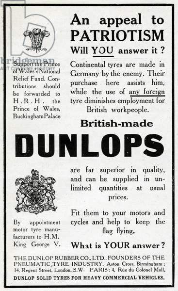 Advertisement for Dunlop tyres, WW1