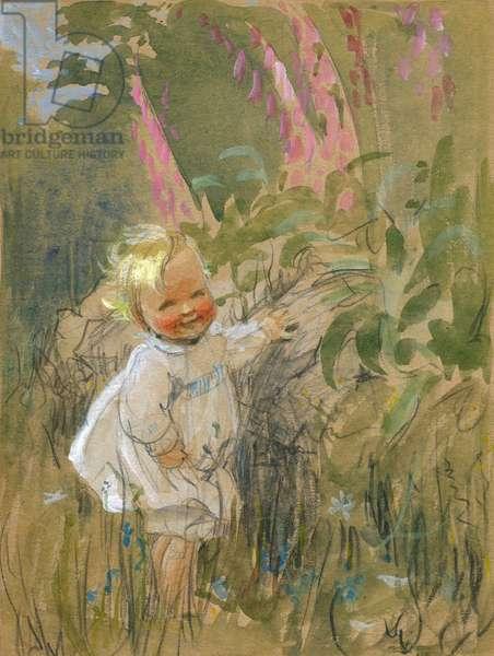 Toddler in a garden by Muriel Dawson