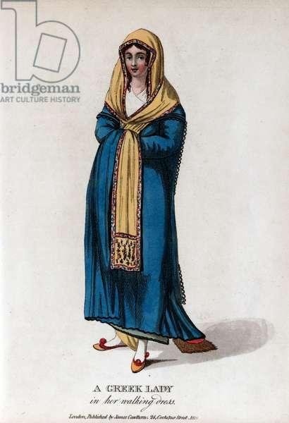 Greek lady wearing a blue dress and yellow shawl
