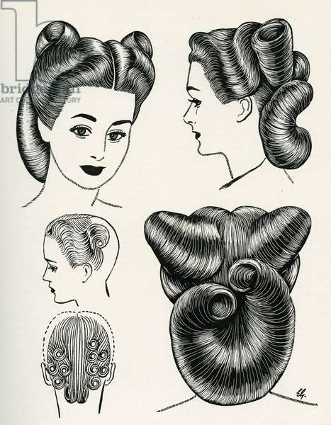 Circular roll hairstyle 1940s