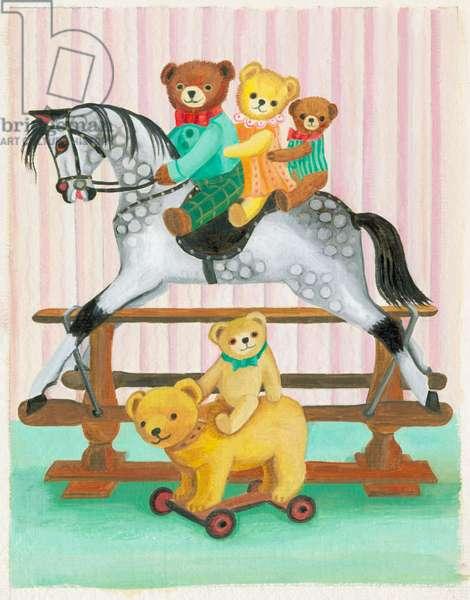 Teddies with Rocking Horse
