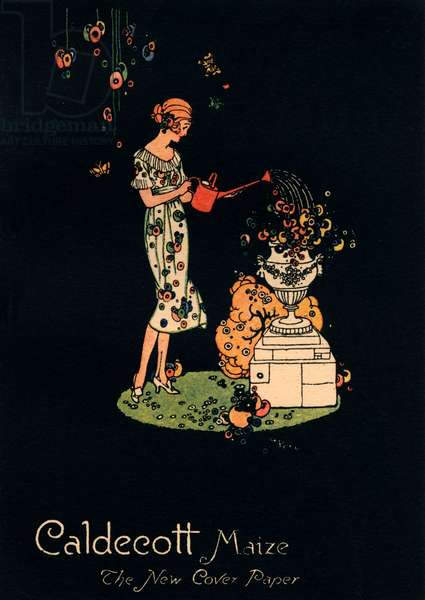 A woman watering her flowers with a watering can.