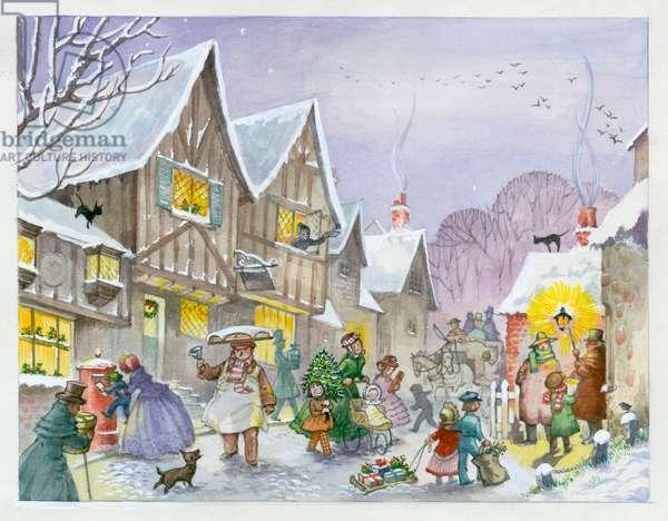 Victorian Christmas street scene
