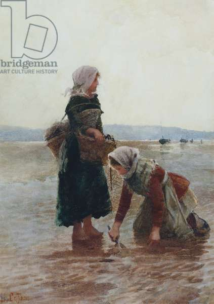 Two Girls Gathering Mussels