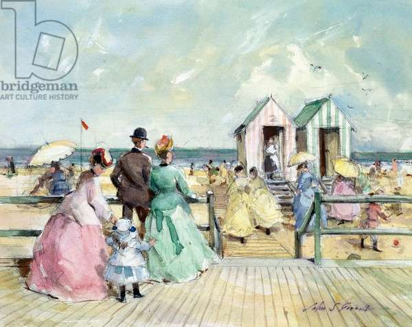 Seaside Victorian scene with bathing huts