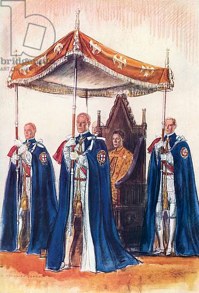 King George VI and his canopy bearers, coronation