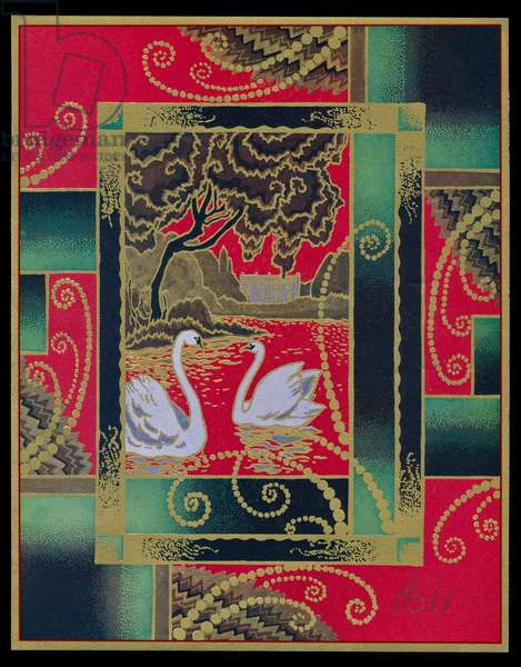 Chocolate box design, two white swans