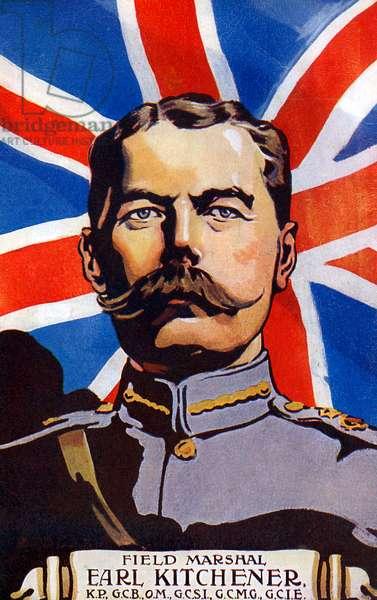 Portrait of Kitchener before Union Flag