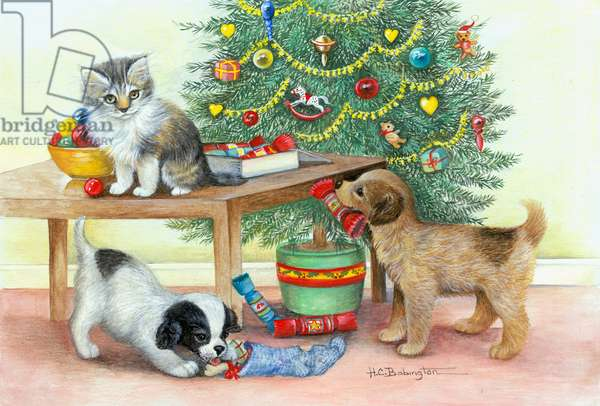 Puppies and Kitten by Christmas Tree