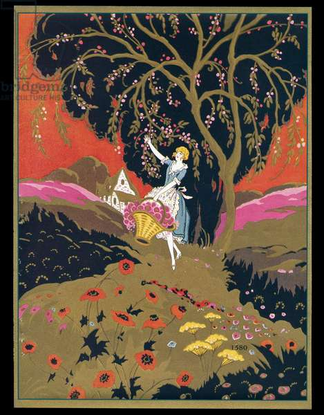 Chocolate box design, lady picking fruit