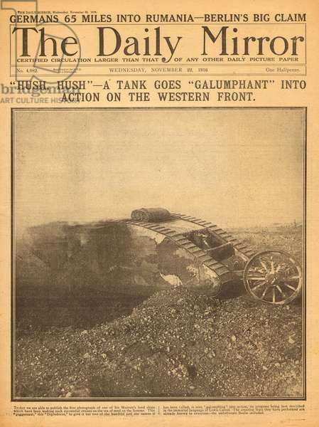 Allied tank in action on Western Front, WW1