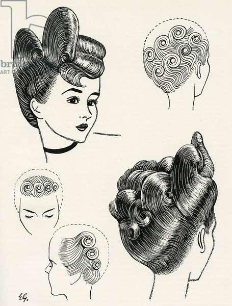 Semi-Edwardian Elaborate Hairstyles Diagram