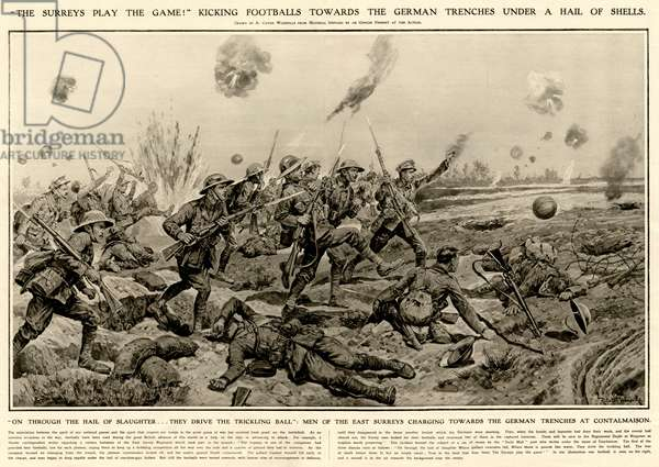 Tommies kicking a football on the way to the German Trenches