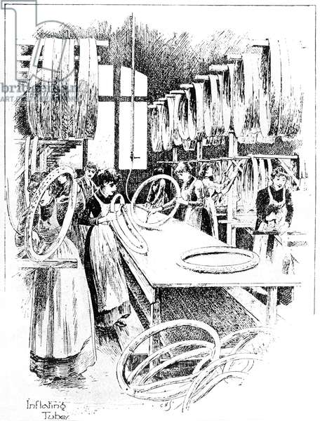 Manufacture of Dunlop tyres, 1896: inflating the tubes