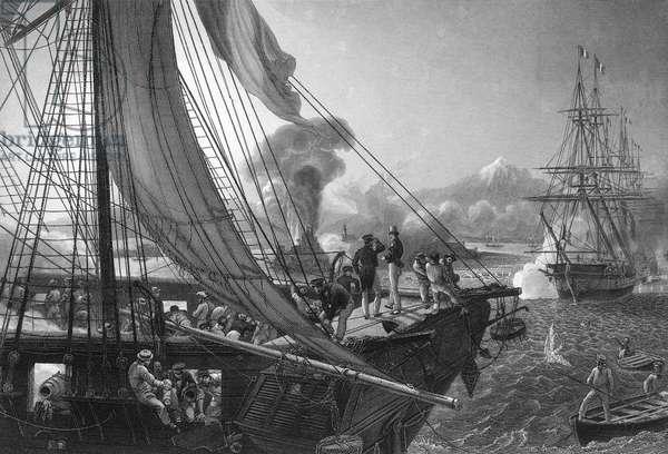 French bombarding fort of San Juan de Ulua, Mexico