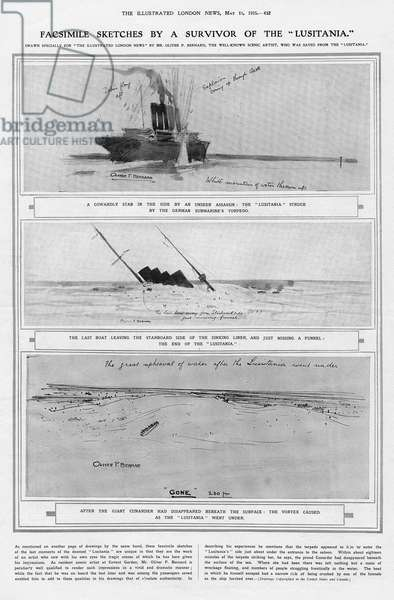 The Lusitania struck by a torpedo